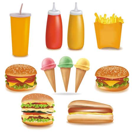 Vector de calidad fotográfica. Grupo de comida rápida de productos
