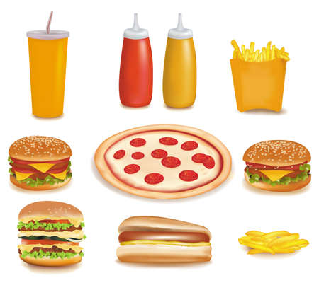 Photo-realistic vector. Big group of fast food products. Stock Vector - 9538586