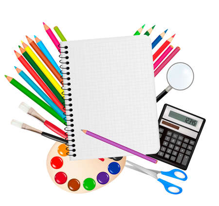 Back to school. Notepad with school supplies. Vector.  Vector
