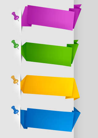 Set with colorful origami paper banners with pushpins. Vector illustration. Vector