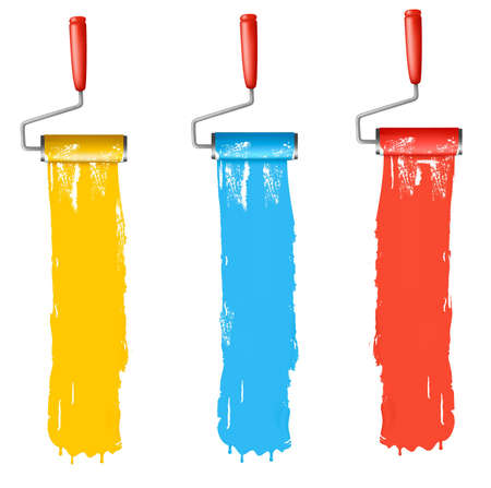 Set of colorful paint roller brushes Stock Vector - 9543280