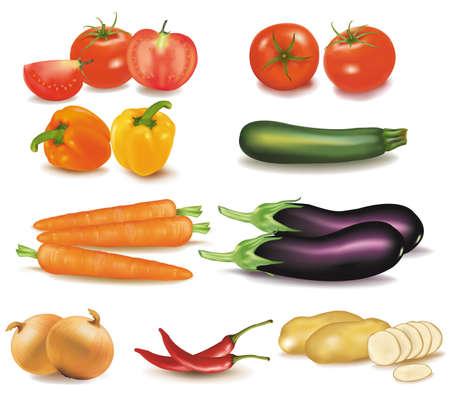 El gran colorido grupo de verduras.