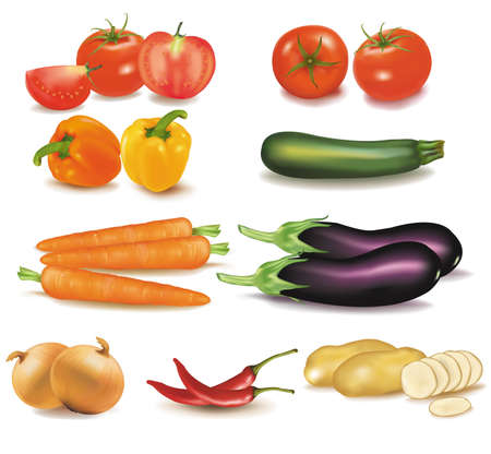 The big colorful group of vegetables.