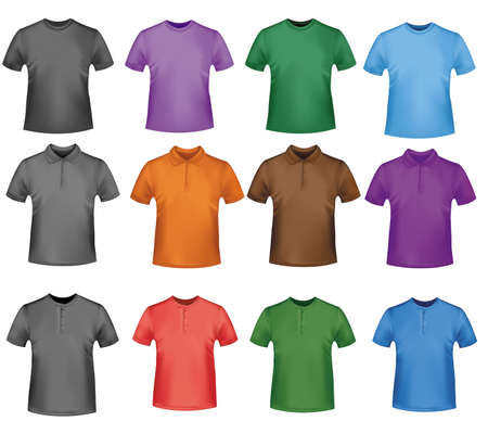 Black and colored polo shirts. Photo-realistic illustration.  Stock Vector - 9594878