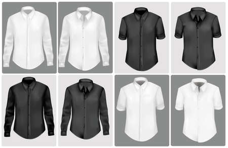 photorealistic: black and white polo shirts. photo-realistic illustration.  Illustration