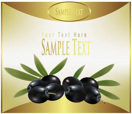 tuscany: gold label with black olives.