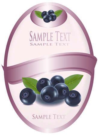 pink label with blueberries with leaves. photo-realistic illustration. pink label with blueberries and raspberries with leaves  Vector