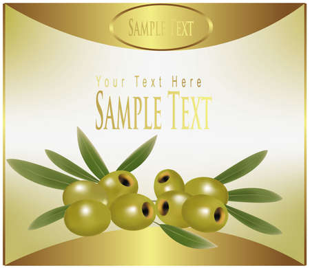 gold label label with green olives. Stock Vector - 9594891