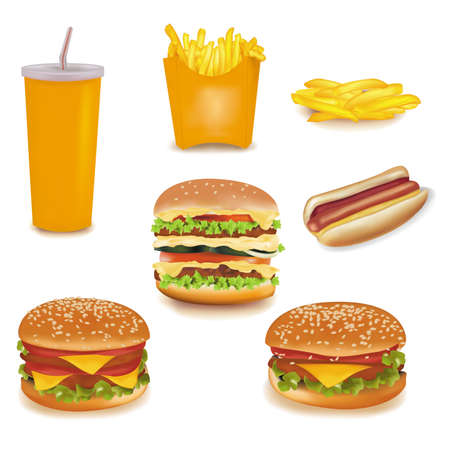 photorealistic: photo-realistic . big group of fast food products.