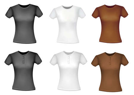 Black and white and brown shirts (women). Stock Vector - 9594863