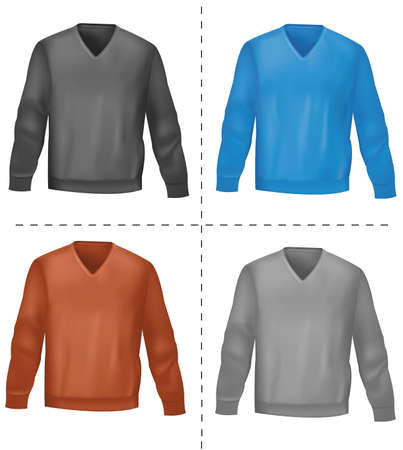Black and colored long-sleeved t-shirts.