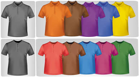 Black and white and colored shirts. Photo-realistic illustration. Stock Vector - 9594896