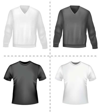 green dress: Black and white sporty polo shirts and t-shirts. Photo-realistic vector illustration