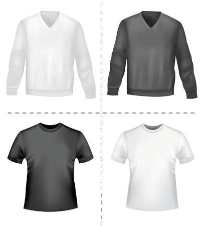 with orange and white body: Blanco y negro deportivas polo camisas y camisetas. Ilustraci�n vectorial fotorrealistas
