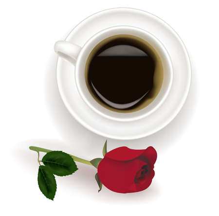 Top view of black coffee cup with red rose.  Vector