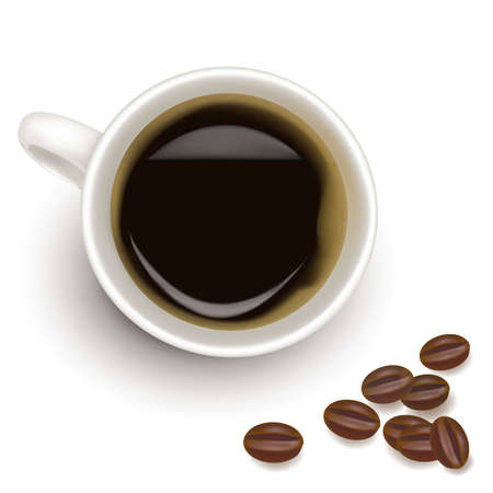 Cup of coffee with coffee grain.