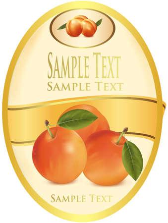 Fotorealistische illustratie. Geel etiket met abrikozen.