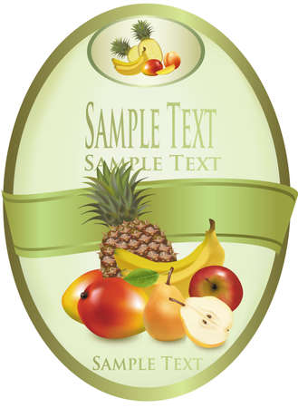 pineapples: Ilustraci�n fotogr�fica. Etiqueta verde de frutas ex�ticas
