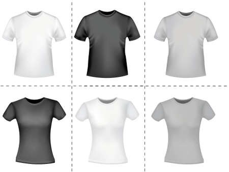 Black and white men polo shirts. Stock Vector - 9594870