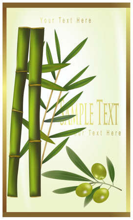 illustration. Green label of bamboo and olive  Stock Vector - 9594864