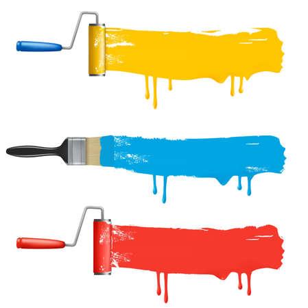 farbrolle: Reihe von bunten Paint Roller B�rsten.  Illustration