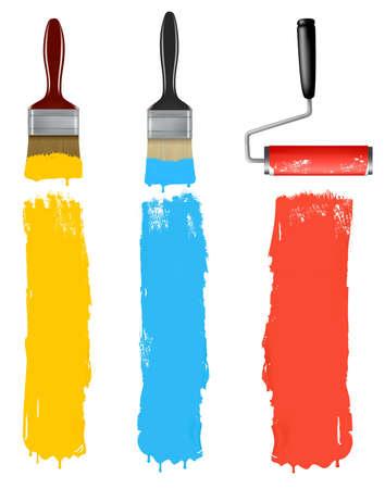 pinsel: Reihe von bunten Paint Roller B�rsten.  Illustration
