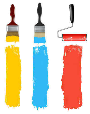 paint cans: Set of colorful paint roller brushes.  Illustration