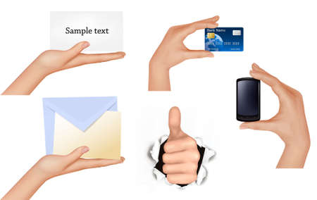 Set of hands holding different business objects. Stock Vector - 9589570