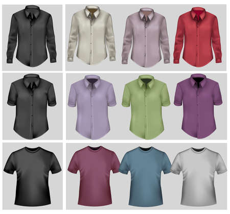 photorealistic: Colored and black polo shirts. Photo-realistic vector.