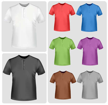 Black and colored t-shirts (men and women). Photo-realistic vector illustration.  Stock Vector - 9635382