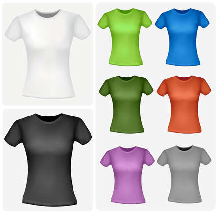 photorealistic: Colored shirts (women). Photo-realistic vector illustration.