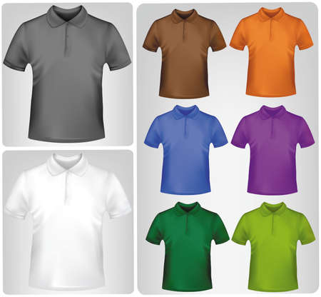 short back: Colored polo shirts. Photo-realistic vector illustration