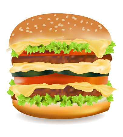 Photo-realistic vector illustration of the big cheeseburger isolated on the white background. Stock Vector - 9635370