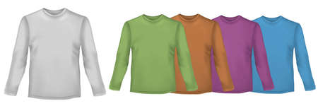 Black and colored long-sleeved t-shirts. Photo-realistic vector illustration. Vector