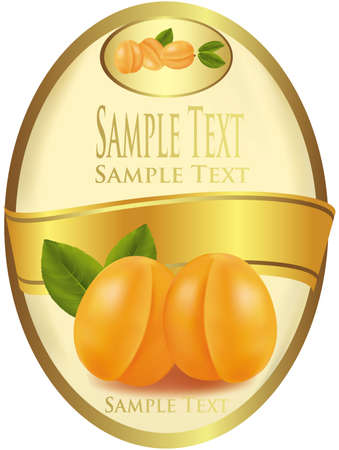 Photo-realistic vector illustration. Yellow label with apricots.