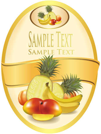 sliced fruit: Photo-realistic vector illustration. Yellow label with exotic fruit