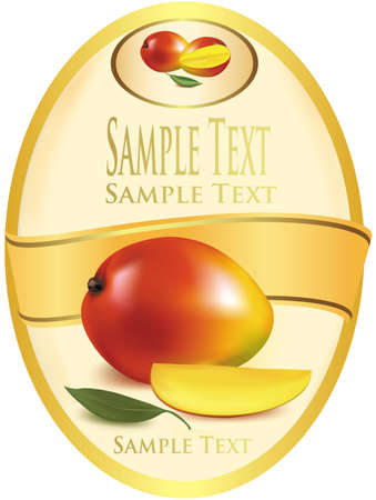 mango fruit: Photo-realistic vector illustration. Yellow label with red apples