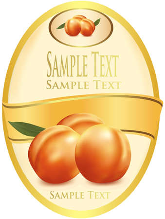 dżem: Label with peaches. Photo-realistic vector illustration.