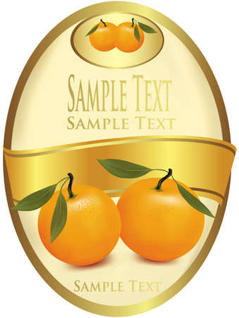 photorealistic: Label with tangerine. Photo-realistic vector illustration  Illustration