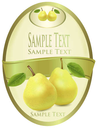 Photo-realistic vector illustration. Green label with pears.  Vector