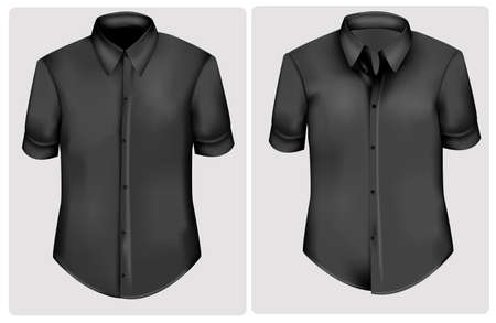 Black two t-shirts. Photo-realistic vector illustration  Vector