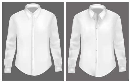 camicia bianca: Illustrazione vettoriale foto-realistica. T-shirt bianca.
