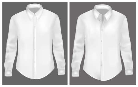 long sleeves: Photo-realistic vector illustration. White t-shirts.
