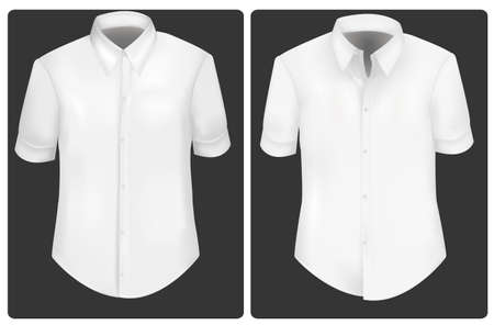 sleeves: Photo-realistic vector illustration. White t-shirts.