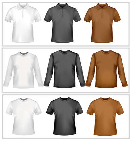short back: Polo shirts and t-shirts. Photo-realistic vector illustration.