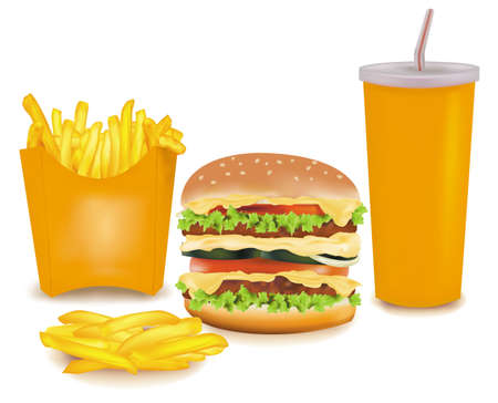 Photo-realistic vector. Big group of fast food products.  Vector