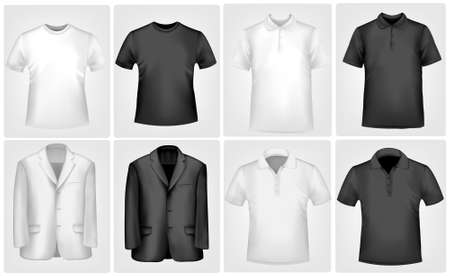 Black and white men polo shirts and t-shirts.  Vector