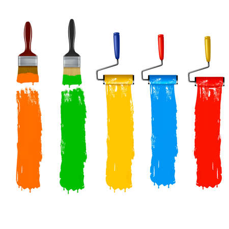 paint can: Paint brush and paint roller and paint banners.  Illustration