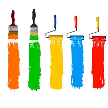farbrolle: Zeichnen Sie Pinsel und malen Sie Walze und malen Banner.