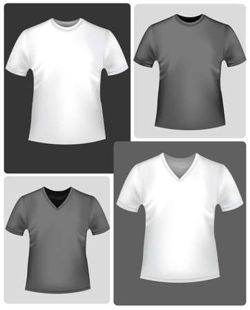 Black and white t-shirts. Vector